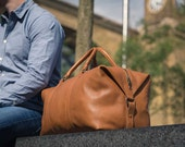 Real Leather Duffle / Duffel Bag by Fox Archer - Caramel Tan Leather Duffle Weekend Holdall Travel Gym Bag