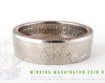COIN RING - Hawaii State - Handmade in the USA - All Sizes Available
