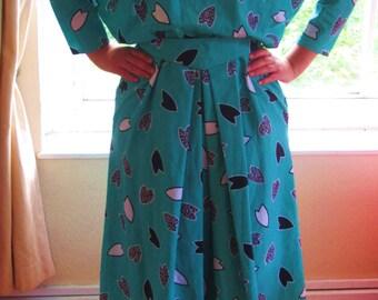 Vintage Bright Green Printed Day Dress