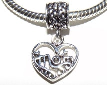 Silver Plated MOM Charm fits Pandora bracelet