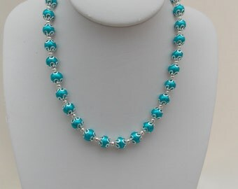Bright Blue Pearl Necklace
