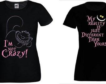 CHESHIRE CAT t-shirt i'm not crazy
