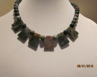 fancy jasper fan necklace