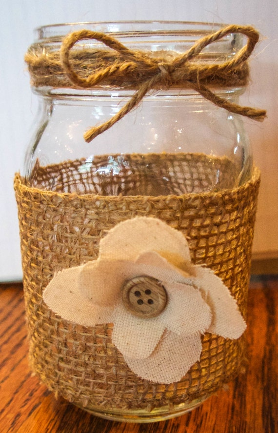 Rustic Mason Jar With Burlap Twine Cloth Fabric And Wooden