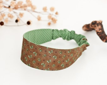 Brown headband adult yoga headband dreadlock fabric headband butterfly reversible headband green