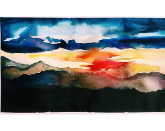 Original Watercolor Painting Abstract Sunset in the Mountains