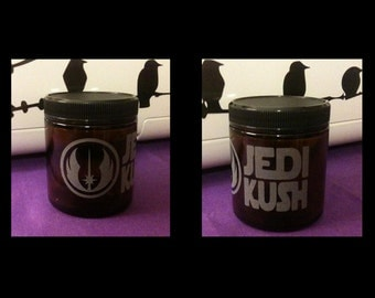 Custom Etched Glass Medical Dispensary Stash Jar - Jedi Kush