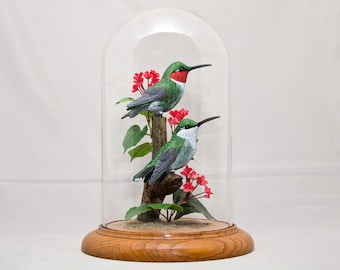 "Ruby-Throated Hummingbird hand painted sculpture in 8"" crystal dome"