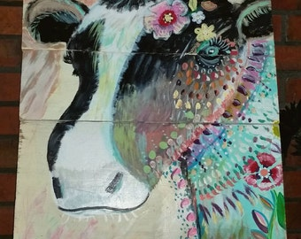 Colorful cow painting on wood canvas