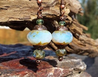 Vintage Style Opalescent Earrings, Picasso Glass, Copper