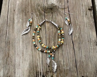 Feather bracelet & earrings