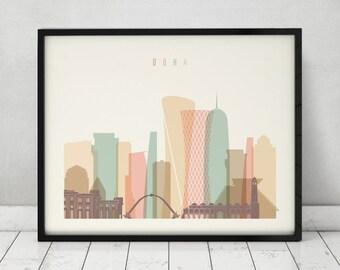 Doha print, Poster, Wall art, Qatar cityscape, Doha skyline, City poster, Typography art, Home Decor, Digital Print, ArtPrintsVicky.