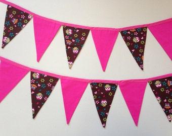 Cute Owl Flag Bunting Pink & Brown