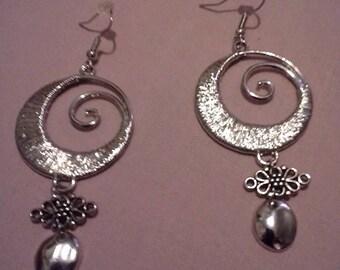 Unique Silver Swirl Earrings
