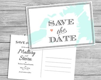 Destination Map Save the Date - Boston, MA, Printable Digital File or Request Prints