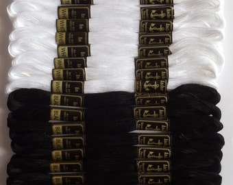 24 Black & White Anchor Cross / Long Stitch Cotton Embroidery Thread Floss skeins GET 10% DISCOUNT*