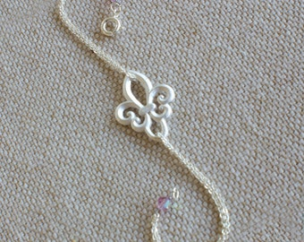 Silver Fleur de Lis Bracelet