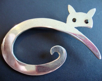 Sterling 925 Stamped, Huge Abstract Cat Silhouette Brooch.