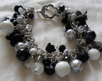 Shadow and Light - black and white themed Bracelet