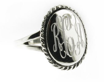 925 Sterling Silver Monogram Engravable Oval with Rope Edge Signet Ring