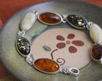 Multi colored amber bracelet