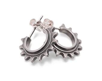 Bike Cog Silver Earring