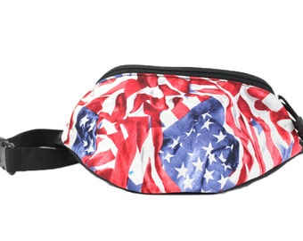 Fanny pack USA Flag Red White Blue fabric - Cute  - Hip Waist Bag for travel, sport, and hiking with 2-zippered compartments