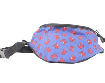 Fanny pack Red Crab fabric - Cute  - Hip Waist Bag for travel, sport, and hiking with 2-zippered compartments