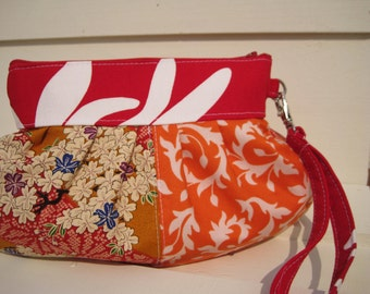 Bridesmaid clutch,  janbag wristlet,red,orange,flowers, clutch wristlet patchwork