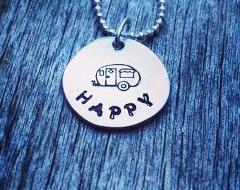 Shasta Camper Necklace Pewter Charm - Vintage trailer, happy camper, gift idea, custom, decor, Glamping addict, canned ham, RV, camping van