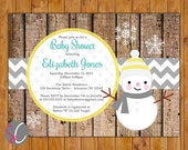 Snowman Baby Shower Invite Rustic Winter Baby Girl or Boy Yellow Grey Winter Invite Christmas Printable Invitation 5x7 Digital JPG File (96)
