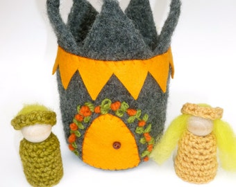 Felted wool castle with Prince and Princess wood peg dolls Waldorf