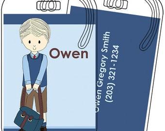 School Uniform Boy (Shorts) Luggage or Backpack Tag- Custom