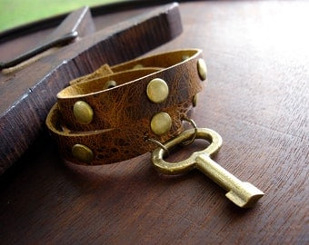 Leather Wrap Bracelet with Vintage Brass Key and Studs - Rustic Brown Steampunk Snap Cuff