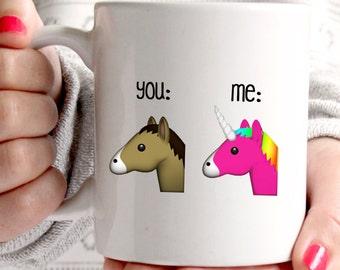 Emoji you and me coffee mug, funny mug with unicorn and horse