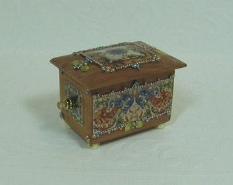 Dollhouse Miniature Filigree Design & Beaded Cedar Chest