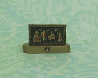 Dollhouse Miniature Medieval Tapestry Print Stand Up with Black