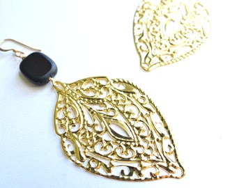 The Anita- Gold and Black Earrings