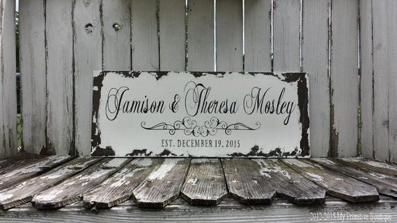 Custom Name Sign | Establised Name Sign | Wedding Signs | Welcome Wedding Sign | Family Name Sign | Painted Signs | Vintage Signage