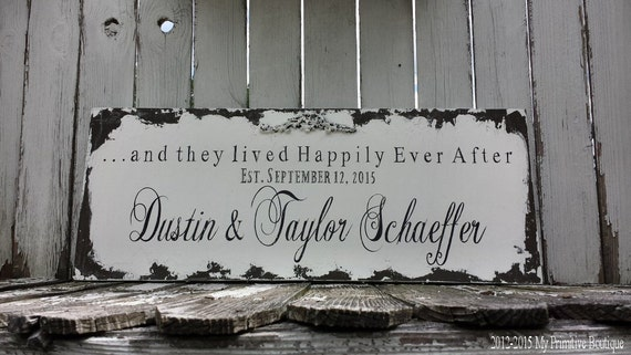 HAPPILY EVER AFTER Sign   Custom Name Sign   Personalized Wedding Sign   Shabby Chic Sign   Mr & Mrs Sign   Wedding Signs   Vintage Inspired