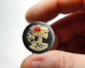 25mm 20mm 16mm 12mm 10mm or 8mm Glass Cabochon - Glass Skeleton Cameo - for Jewelry and Pendant Making