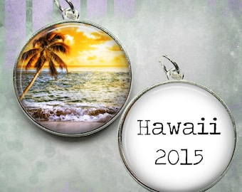 Custom Travel Pendant or Key Chain - Your Choice of Image and Saying - Double Sided with Saying