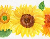 Sunflowers Watercolors Paintings Original, Small Sun flower, Small Wall Ar  sunflower decor