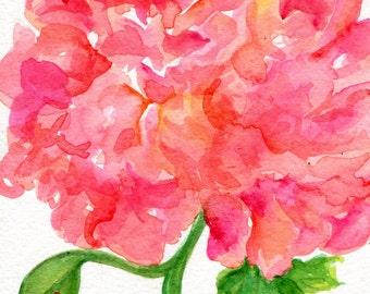 Peony Watercolors Painting, Peony painting Original Flowers artwork, 5 x 7, original watercolor painting, Peony artwork SharonFosterArt