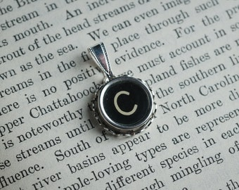 Initial TYPEWRITER Key PENDANT Letter C Black or Light Jewelry Vintage Unique Gift