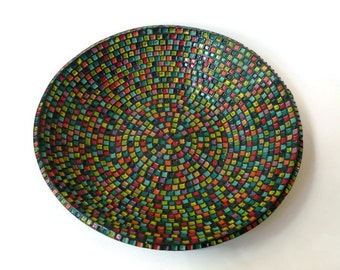 Large Black Serving Bowl with Rainbow Squares