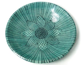 Large Ceramic Serving Bowl with Doodle Design - Turquoise and Black