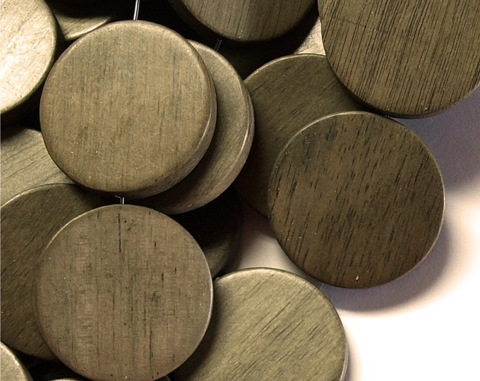 Wood Bead, Coin 30mm, Graywood - Three 16 Inch Strands