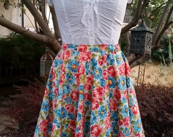 Floral Circle Skirt Ready to Ship Womens skirt Pink and Blue Cotton Elastic Medium Large Skirt