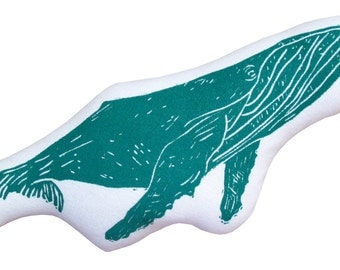block print whale stuffie